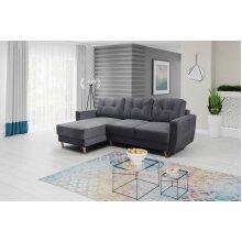 Universal Corner Sofa Bed RETRO with Storage, Fabric in Dark Grey