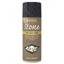 Rust-Oleum AE0070003E8 Textured Stone Effect Black Granite Spray Paint 400ml