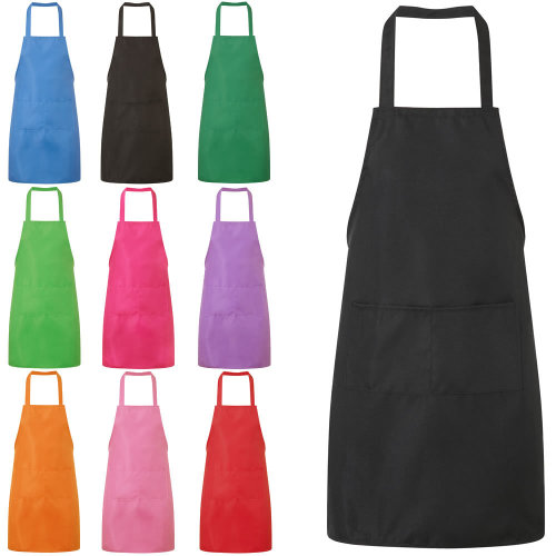 (Black) Plain Unisex Cooking Apron With Twin Pockets