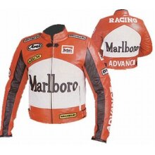 Marlboro Advance Cowhide Leather Motorcycle Riders Racing Jacket Motorbike Biker Sports Coat New , Protective For Men, Orange and White