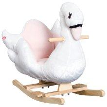 HOMCOM Plush Kids Toy Ride On Rocking Horse Swan Style Pink
