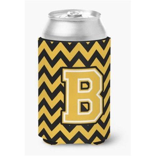 Letter B Chevron Black & Gold Can or Bottle Hugger, 0.25 x 4 x 5.5 in.