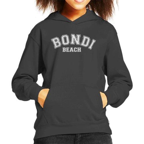 (Large (9-11 yrs), Charcoal) Bondi Beach College Text Kid's Hooded Sweatshirt