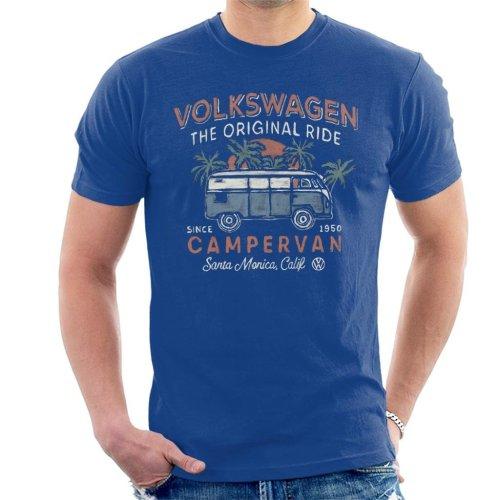 (X-Large, Royal Blue) Official Volkswagen The Original Ride Campervan Men's T-Shirt