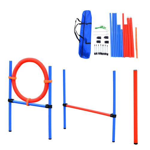PawHut Dog Agility Training hoop & pole set |Adjustable Pet Behaviour Obedience Training Equipment