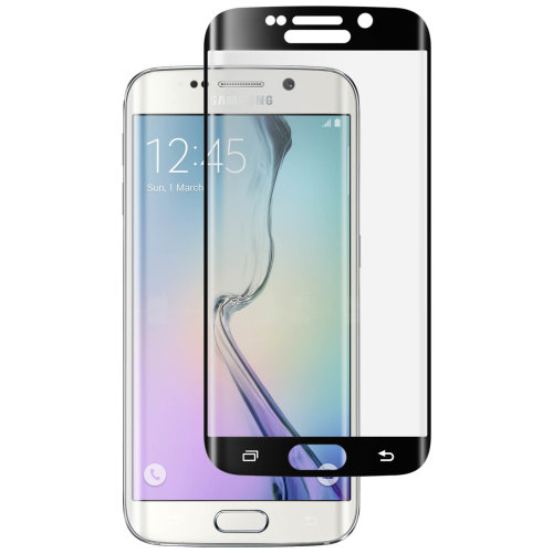 Curved tempered glass screen protector for Samsung Galaxy S6 Edge - Black