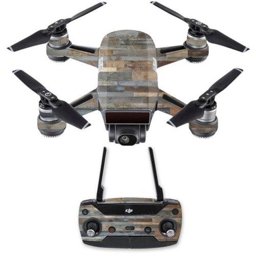 MightySkins DJSPCMB-Gray Wood Skin Decal for DJI Spark Mini Drone Combo Sticker - Gray Wood