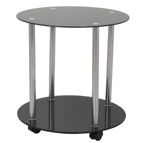King Glass Furniture - Round Side Table (with castors)