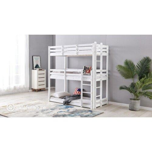 Triple sleeper bunk bed 3ft 3tier in White
