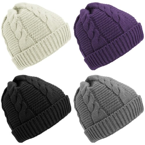 Ladies/Womens Cable Knit Fleece Lined Winter Beanie Hat
