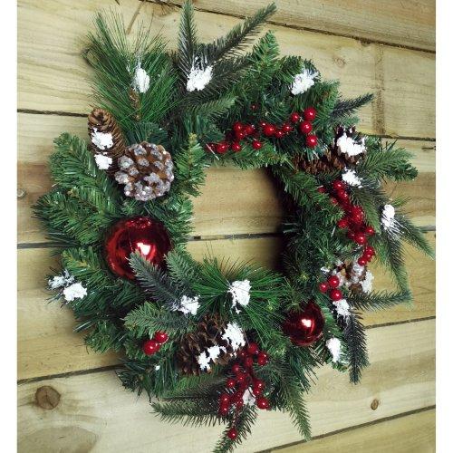 45cm Premier Christmas Snow Door Wreath, Deluxe Design