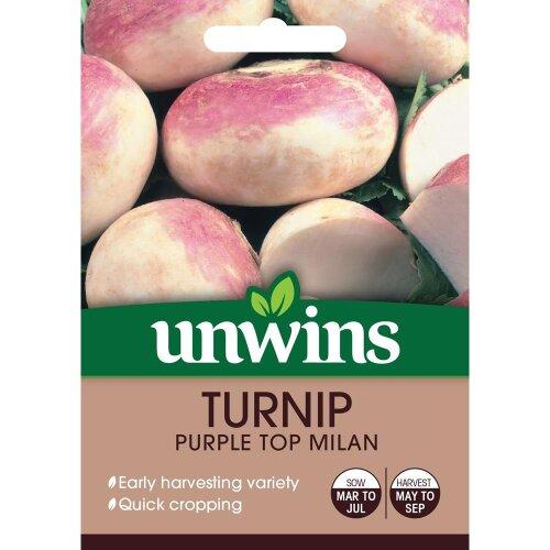 Unwins Grow Your Own Quick Cropping Purple Top Milan Turnip Veg Seeds