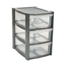 30cm 3 Tier Grey Mini Plastic Storage Drawers