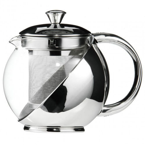 Kabalo 500ml Modern Sylish Stainless Steel & Glass Teapot WITH LOOSE TEA LEAF INFUSER