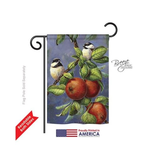Breeze Decor 55034 Birds Chickadees & Apples 2-Sided Impression Garden Flag - 13 x 18.5 in.
