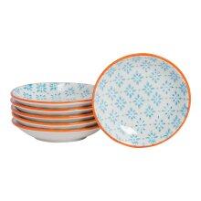 Sauce Dipping Tray Teabag Dish Tapas Sushi Serving Bowl Tidy - Blue / Orange x6
