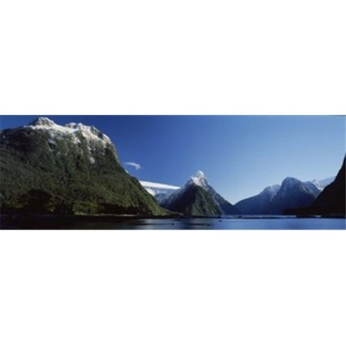 Lake with mountains in the background  Milford Sound  Fiordland National Park  South Island  New Zealand Poster Print by  - 36 x 12