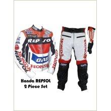 HONDA Bike Racing Suit Cowhide Leather Motorcycle Motorbike Bikers Racing Sports Two 2 Piece Zip Up Suit (Jacket+Trouser)