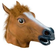 RUBBER HORSE HEAD MASK PANTO PARTY FANCY DRESS COSPLAY HALLOWEEN