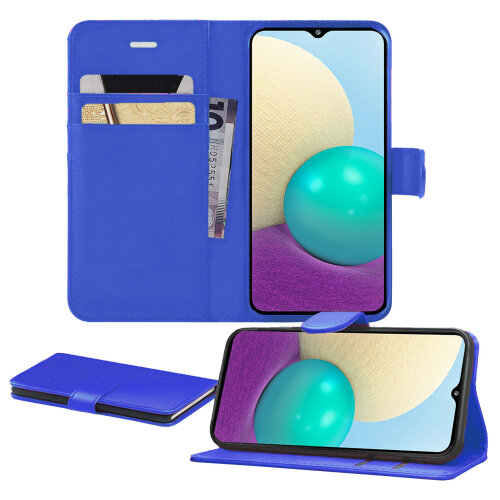 (Blue) For Samsung A02 Case, Pu Leather With Card Slots [Magnetic Closure] [Kickstand] Wallet PU Leather Flip Cover