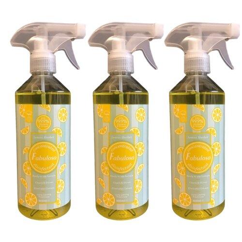 Fabulosa Disinfectant Spray Lemon Sherbet 500 ml Vegan Three Bottles