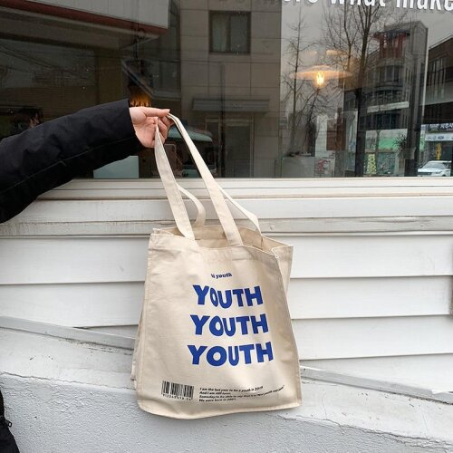 Canvas Shopping Bag, YOUTH Letters Print, Cotton Cloth Shoulder Handbag For Women
