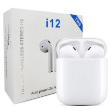 TWS i12 Wireless Earbuds With Wireless Charging Case
