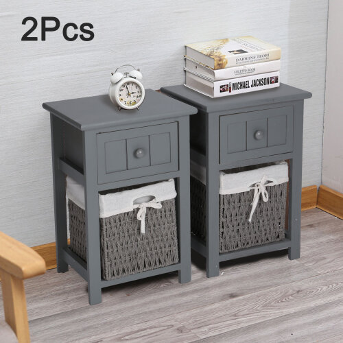 Pair of Wooden Bedside Tables Night Stand Storage Wicker Baskets