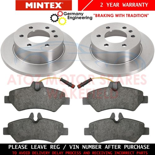 FOR MERCEDES SPRINTER 310 CDi 06- REAR MINTEX BRAKE DISCS BRAKE PADS 298mm SOLID