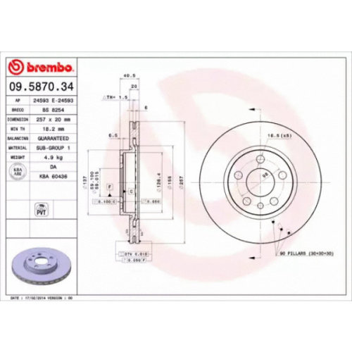 Front Pair (2x) of Brake Disc BREMBO 09.5870.34
