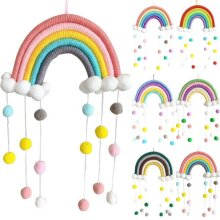Pom-Pom Rainbow Tapestry Clouds Macrame Woven Wall Hanging Kids Room Home Decor