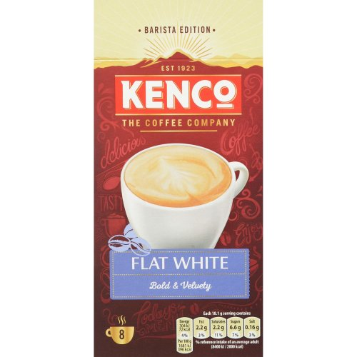 Kenco Flat White Instant Coffee Sachets, Pack of 5, 40-Count