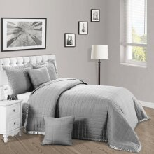 Luxury 3Piece Quilted Bedspread Bed Throw