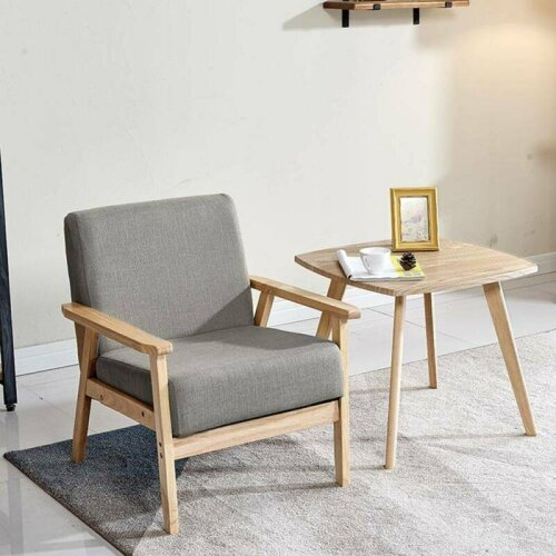 Modern Home Accent Armchair Chair Single Cafe Seat Grey Fabric Solid
