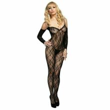 LEG AVENUE FLORAL LACE BODYSTOCKING & ATTACHED SLEEVES 8-14 SEXY LINGERIE UK