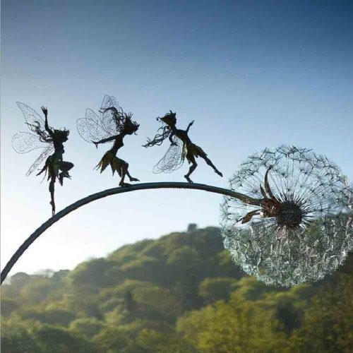 Black Fairies & Dandelions Dance Together Metallic Garden Ornament