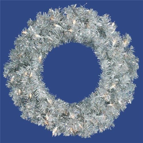 Vickerman B982325 Silver Dura-Lit Wreath with Clear Lights, 24 in.