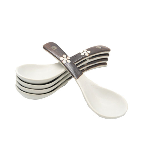 5 Pcs Spoon,  Short handle Ceramic Spoon Soup Spoon Tableware#B
