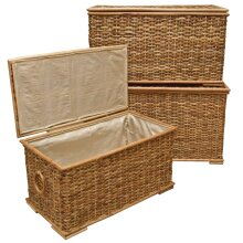 Wicker Storage Chest Lined Trunk Rustic Rattan