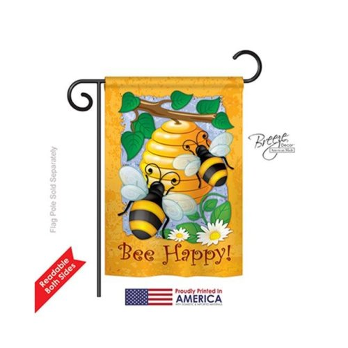 Breeze Decor 54077 Bee Happy 2-Sided Impression Garden Flag - 13 x 18.5 in.