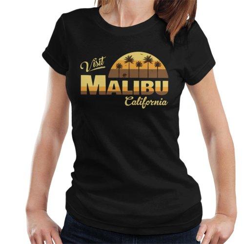 (Medium, Black) Visit Malibu Retro California Women's T-Shirt