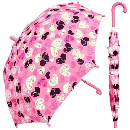 RainStoppers W104CHCHRT 32 in. Childrens Crazy Heart Print Umbrella, 3 Piece
