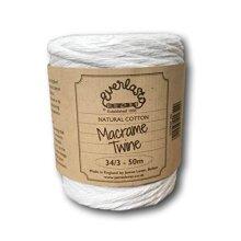 Everlasto Natural Cotton Macrame Twine Cotton Craft String 34/3 5mm x 50m Spool Approx.