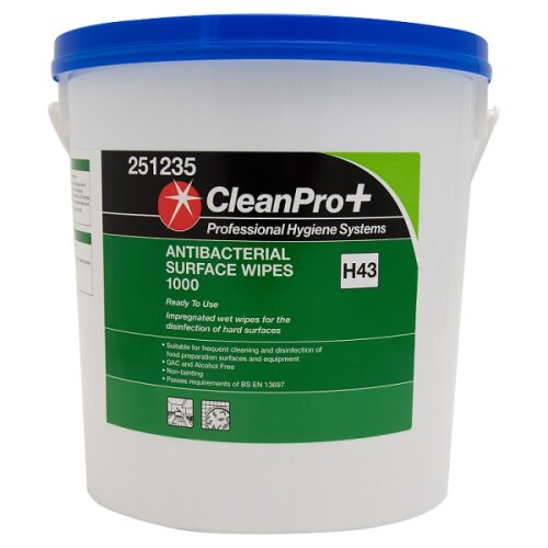 1000pk Clean Pro+ H43 Antibacterial Surface Wipes