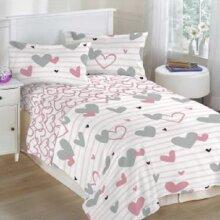Pink Hearts Single Polycotton Kids Duvet Cover Set