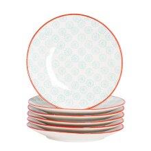 Patterned Dessert Side Wedding Porcelain Kitchen Plates - Turquoise Red 180mm x6