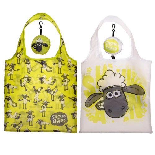 Handy Fold Up Shaun the Sheep Shopping Bag with Holder