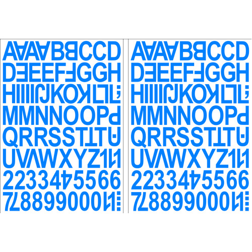 (Light Blue) Alphabet Letters & Numbers Stickers Label Peel Off Sticky 2.5cm High Mixed