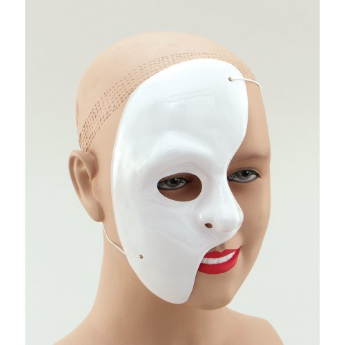 Adult's Phantom Of The Opera Half Face Mask -  mask phantom opera fancy dress white half face halloween eye WHITE FACE HALLOWEEN PHANTOM OF THE OPERA