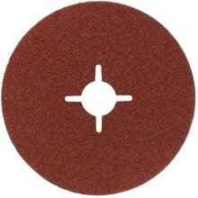 Bosch 2609256253 Fibre Sanding Disc for Angle Grinder Clamped for Wood and Metal 125 mm Disc, 22 mm Bore, 100 Grit